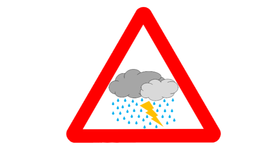 grafika z piorunem, deszczem i chmurą - openclipart.org