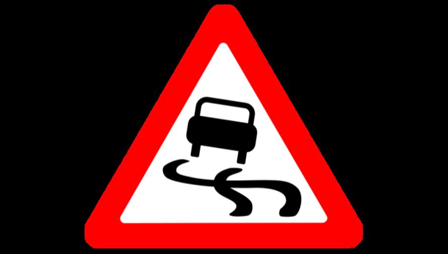 grafika samochodu w czerwonym trójkącie ostrzegawczym