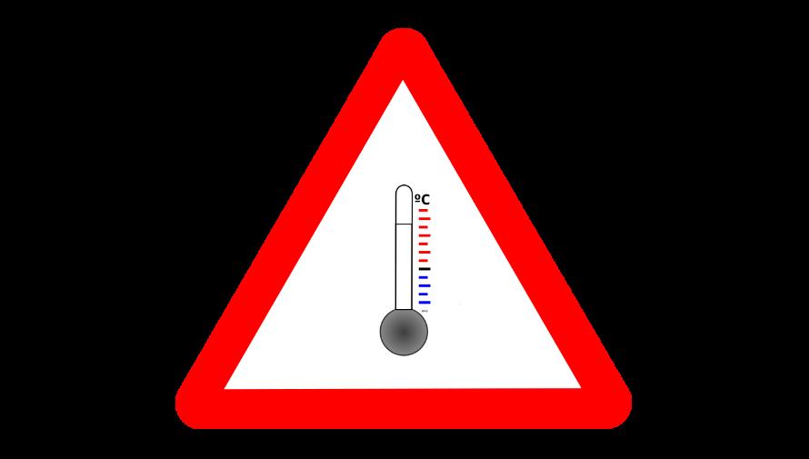 grafika ostrzegawcza z czerwonym trójkątem i termometrem