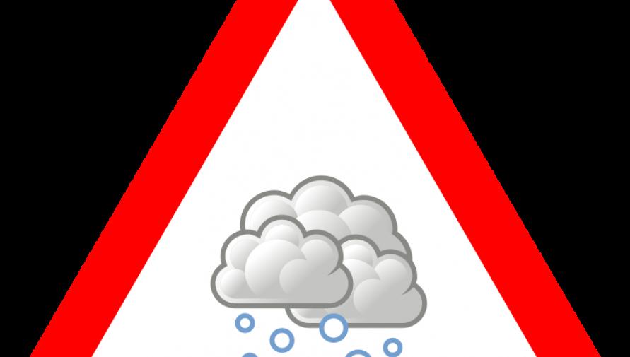 grafika przedstawia ostrzeżenie przed opadami śniegu - Kliknięcie w obrazek spowoduje wyświetlenie jego powiększenia